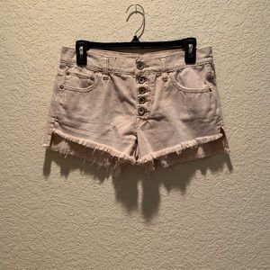 Free People button fly, frayed hi low shorts, 25